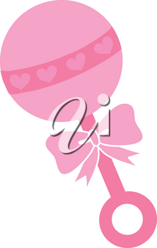 Clipart Illustration of a Pink Baby Rattle