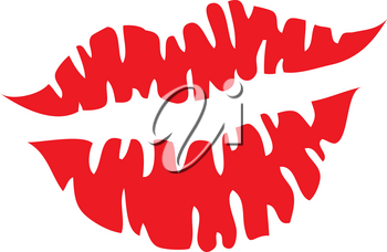 Clipart Illustration of a Kiss Mark