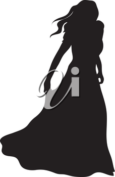 Clipart Illustration of a Woman Silhouette