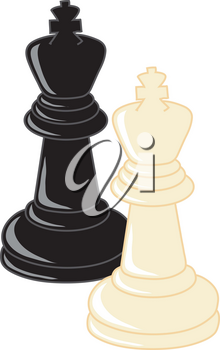 Clip Art Illustration Of Black And White King Chess Pieces