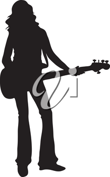 Clip Art Illustration Of The Silhouette Of A Female Bass Player