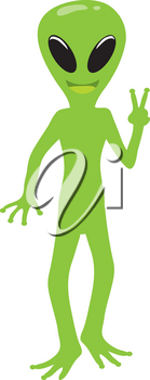 Clip Art Illustration Of An Alien Holding Up The Peace Sign