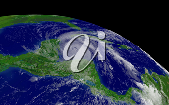 Stock photo of hurricane Wilma. This is an enhanced public domain image from the NOAA. This photograph shows Hurricane Wilma entering the Gulf on Mexico just south of Cuba. Date: October 20th. Centeproint Latitude: 18:15:51N Longitude: 85:05:01W