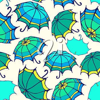 Seamless pattern with decorative colorful umbrellas