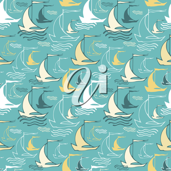 Seamless pattern with decorative sailing ships on waves