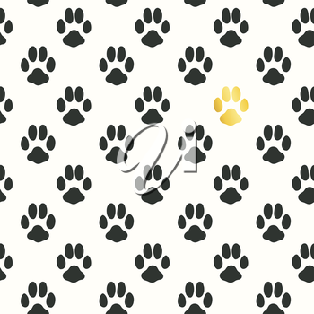 Seamless pattern with animal footprint texture.