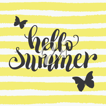 Hello summer hand lettering typography poster