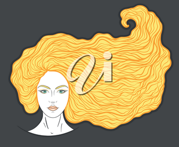 Beautiful girl face with long curly hair and neutral expression. Hand drawn woman portrait stylized in lines. Decorative vector illustration