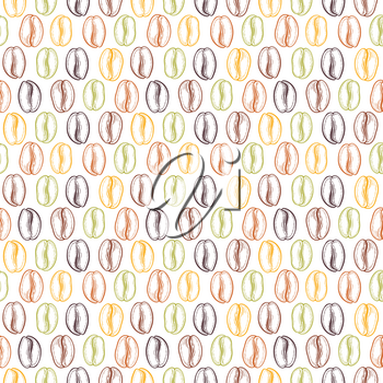 Seamless pattern with coffee beans. Neutral background. Decorative doodle vector illustration