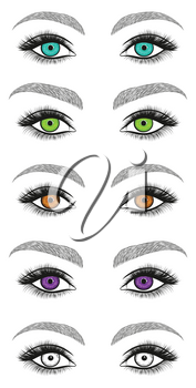 Stylized decorative makeup set. Hand drawn eyes with thick, long eyelashes and perfect brows. Black and white isolated vector illustration