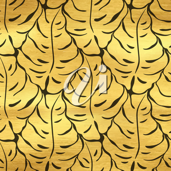 Seamless pattern with monstera leaves silhouettes. Trending tropical background. Vector illustration