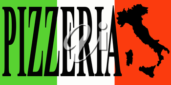 banner with word pizzeria on the background of national Italian flag