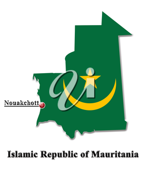 map of Islamic Republic of Mauritania in colors of its flag isolated on white