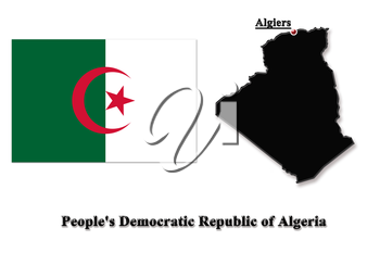 map of People's Democratic Republic of Algeria in colors of its flag isolated on white
