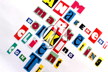 main components of market and business in multicolored letters