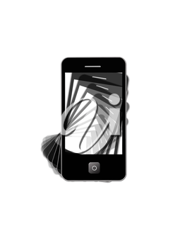 image of modern mobile phone with black shadows