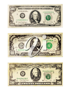 Banknotes of the American dollars face value 20, 100 and 1000 dollars isolated on a white background