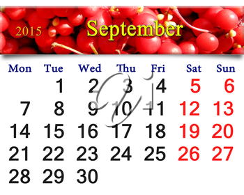 calendar for September of 2015 with the image of crop of red ripe schisandra