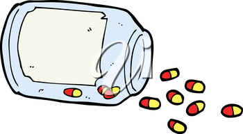 Royalty Free Clipart Image of a Bottle of Pills