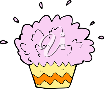 Royalty Free Clipart Image of an Exploding Cupcake