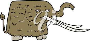 Royalty Free Clipart Image of a Wooly Mammoth
