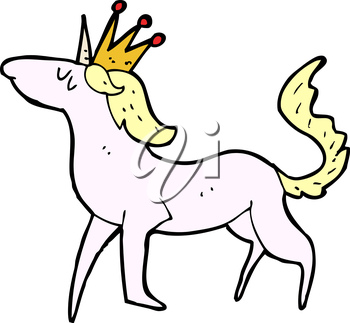 Royalty Free Clipart Image of a Unicorn Wearing a Crown