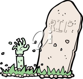 Royalty Free Clipart Image of a Zombie Arm Coming Out of a Grave