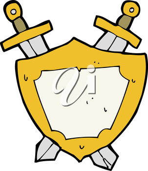 Royalty Free Clipart Image of a Shield and Swords
