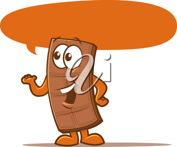Illustration of a talking candy bar