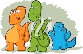 Cute illustration of three colorful dinosaur monsters