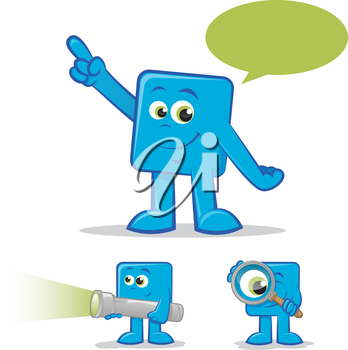 Illustration of a blue cartoon talking and finding