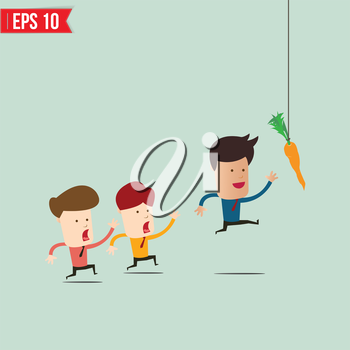 Businessman try to reach carrot - Vector illustration - EPS10