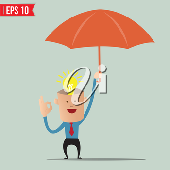 Business cartoon holding umbrella for ind care and protection - Vector illustration - EPS10