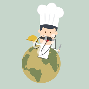 Chef serving food in the dish