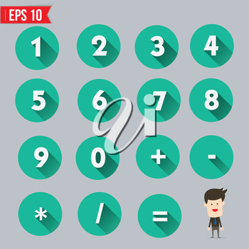 Numbers and Mathematical Symbols flat and long shadow icon - Vector illustration - EPS10