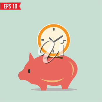 Piggy bank saving money - Vector illustration - EPS10