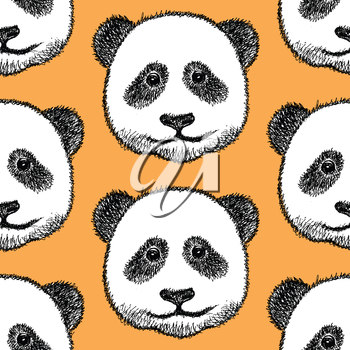 Sketch head of panda, vector vintage seamless pattern