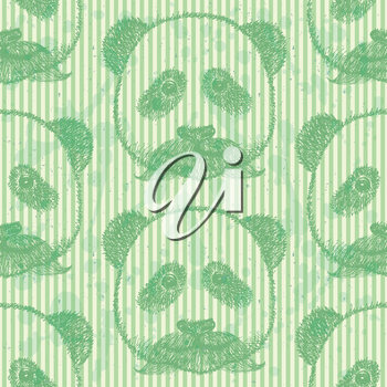 Sketch panda with mustache, vector vintage seamless pattern