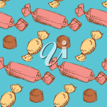 Sketch candies  in vintage style, vector seamless pattern