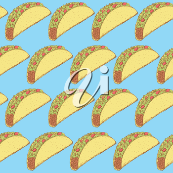 Sketch mexican taco in vintage style, vector seamless pattern
