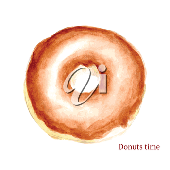 Watercolor tasty donut in vintage style, vector