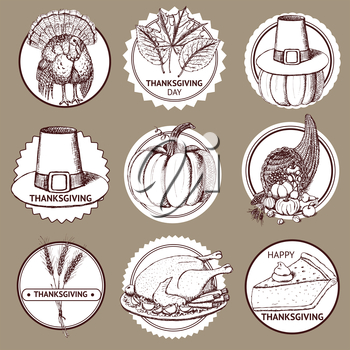 Sketch Thanksgiving set of labels in vintage style, vector.