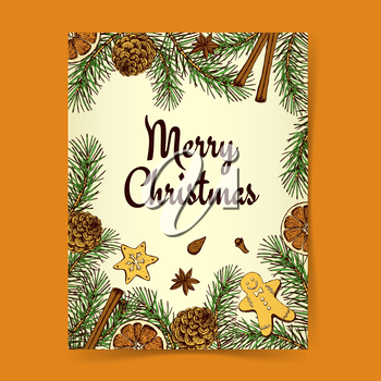 Sketch Christmas background with pine, cookies and spices in vintage style, vector