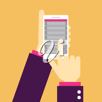 Cell phone with hands, flat design. Vector illustration with list.
