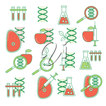 GMO set of icons. Thin line colorful DNA mutation, influence on food.