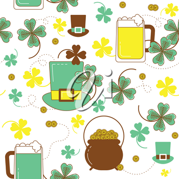 Clover, hat, beer and cauldron with gold. St. Patrick's day colorful seamless pattern