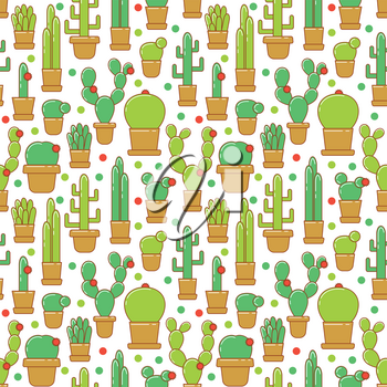 Cactus seamless pattern with polka dots. Cute line art design.
