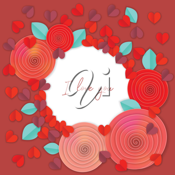 Paper heart red background with I love you
