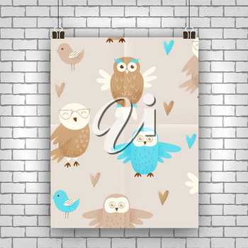 Cute owl, hand drawn design concept, celebration decor