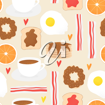 Breakfast vector concept, brunch illustration with donut seamless pattern